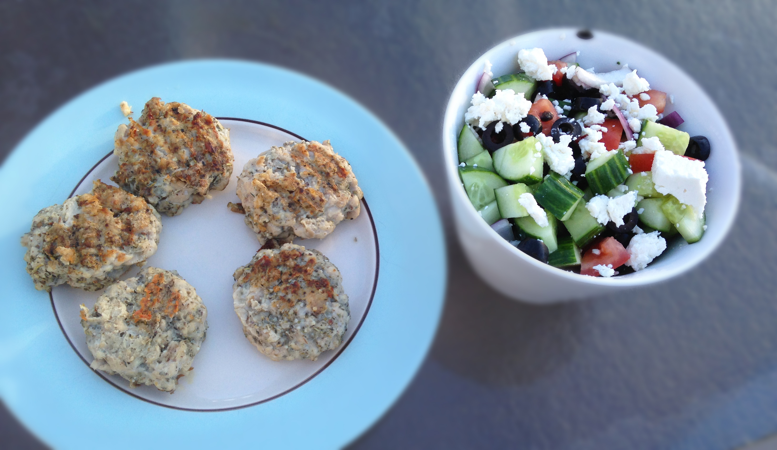 chicken patties with greek salad
